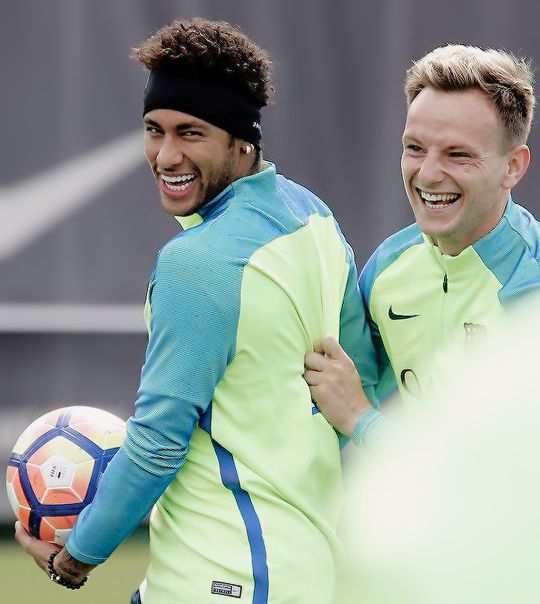 Neymar & Ivan during FC Barcelona training session 05/05/2017