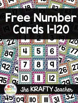 FREE Number Cards 1-120 great for Kindergarten, First, Second GRade MAth activities!