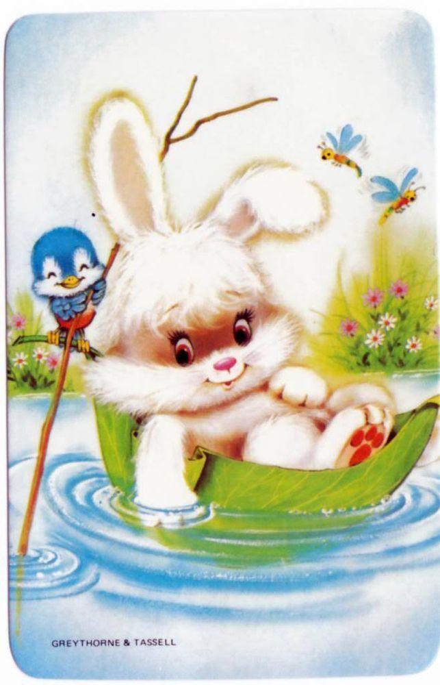 vintage SWAP CARDs 1970s Blank back cute Easter rabbit & blue birds