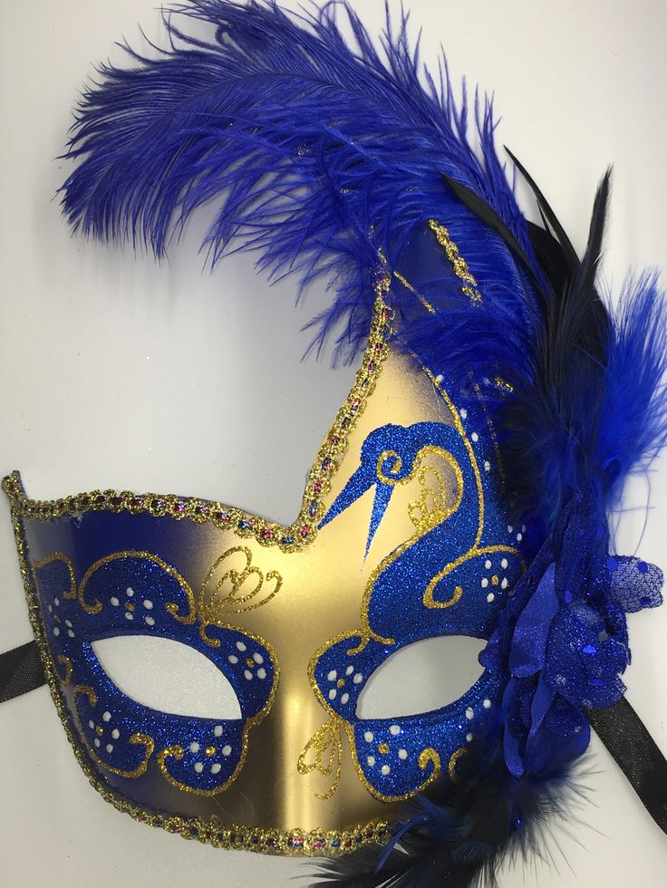 Blue and Gold Mardi Gras Masquarade mask with ribbon ties.