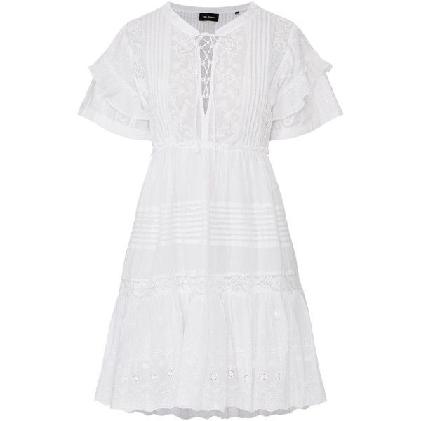 THE KOOPLES Broderie Anglaise Dress featuring polyvore women's fashion clothing dresses white cut out dress hi low dress short-sleeve dresses high low dresses short sleeve dress