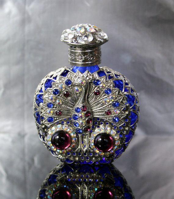 Parfume Bottle Czech Glass Aurora Borealis by DresdenDollz on Etsy