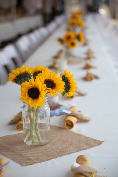 Summer Wedding Idea - Sunflowers, Mason Jars & Burlap. Great ideas for summer brides on a budget.: Guide Magazines, Summer Wedding Ideas, Wedding Planning Ideas, Sunflowers Centerpieces, Mason Jars, Summer Weddings, Sunflower Weddings, Bridal Guide, Center Pieces