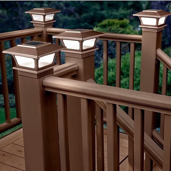 Solar Post Cap Lights Set Of 2 Brown (40 PAB) ❤ Liked On