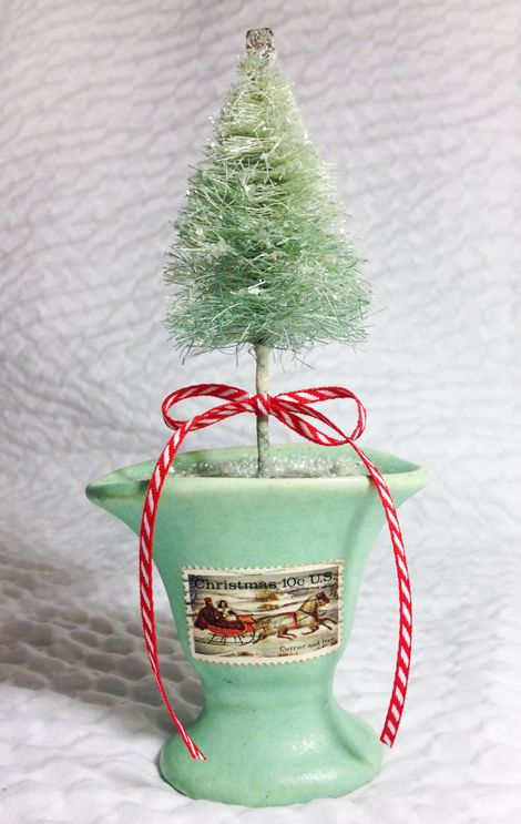 I am in Santa Cruz this weekend for the Goat Hill Fair where I am demonstrating a fun and timely craft project- Vintage-Style Bottle Brush Trees! I'm not just showing how to use them in projects, but