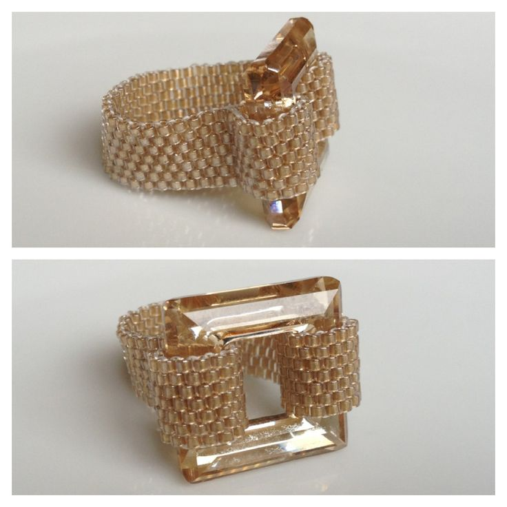 Swarovski Square Crystal 20mm Peyote Seed Bead Band - Yuki's Rings