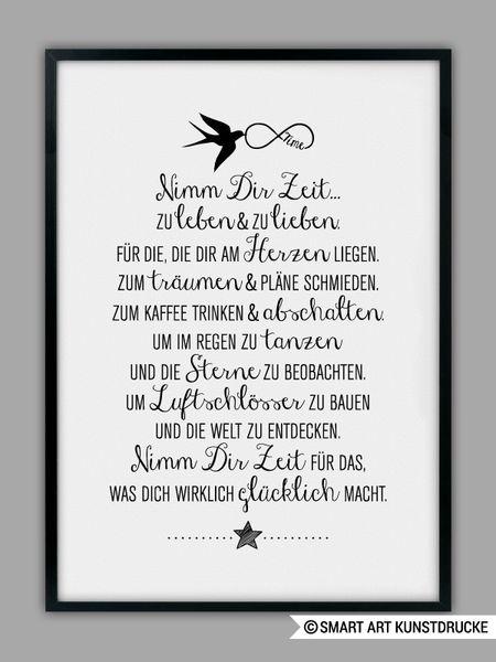 """""""ZEIT NEHMEN"""" Kunstdruck von SMART ART Kunstdrucke ® auf DaWanda.com"""
