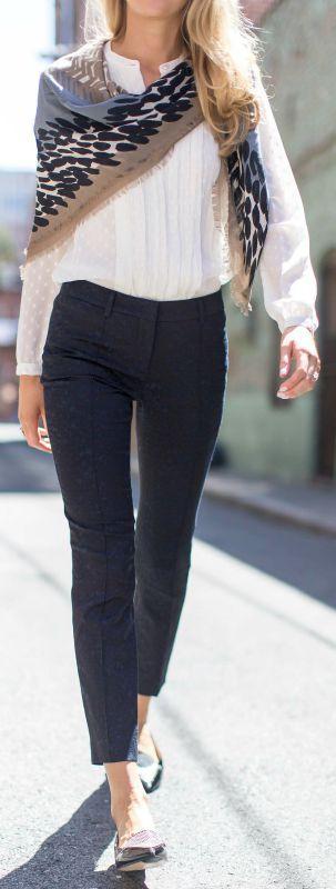 jacquard pintucked pants, ivory polka dot pleated silk blouse, print scarf, pointy toe flats {burberry}