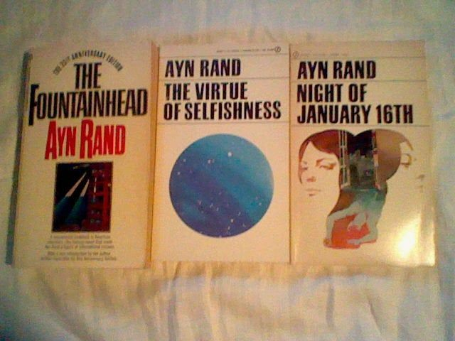 3 Ayn Rand paperback lot Fountainhead,Night of Juary 16th,The Virtue of Selfishness =) signet