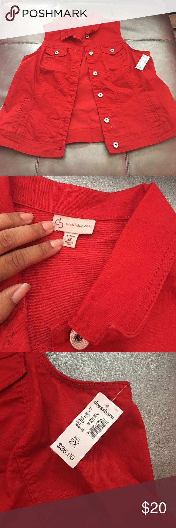 Red Denim Vest Red Denim Vest from Dressbarn Dress Barn Jackets & Coats Vests
