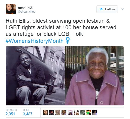 """Born on July 23, 1899, in Springfield, Illinois, Ruth Ellis was the oldest """"out"""" African American lesbian known."""