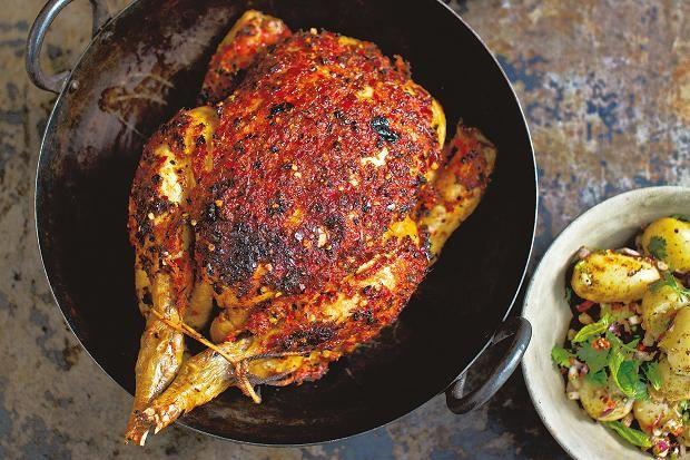 Receta Pollo rostizado con Paprika y papas con alcaravea