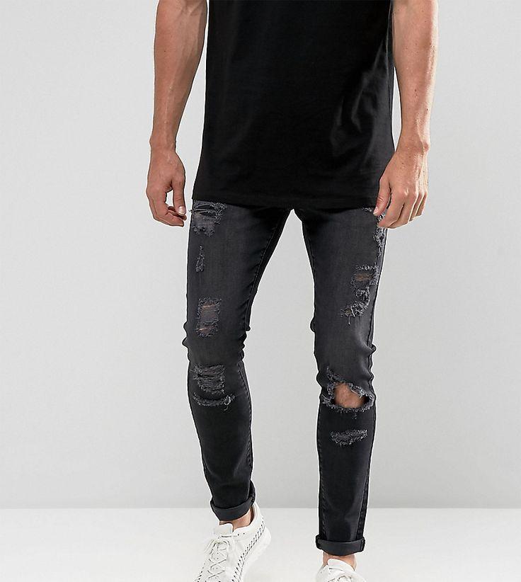 Brooklyn Supply Co Skinny Fit Jeans Washed Black Rip & Repair - Black