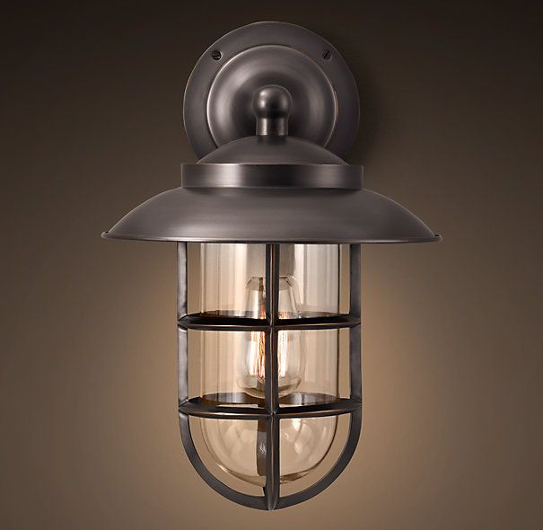 Starboard Large Sconce With Shade Bronze | Sconces | Restoration Hardware