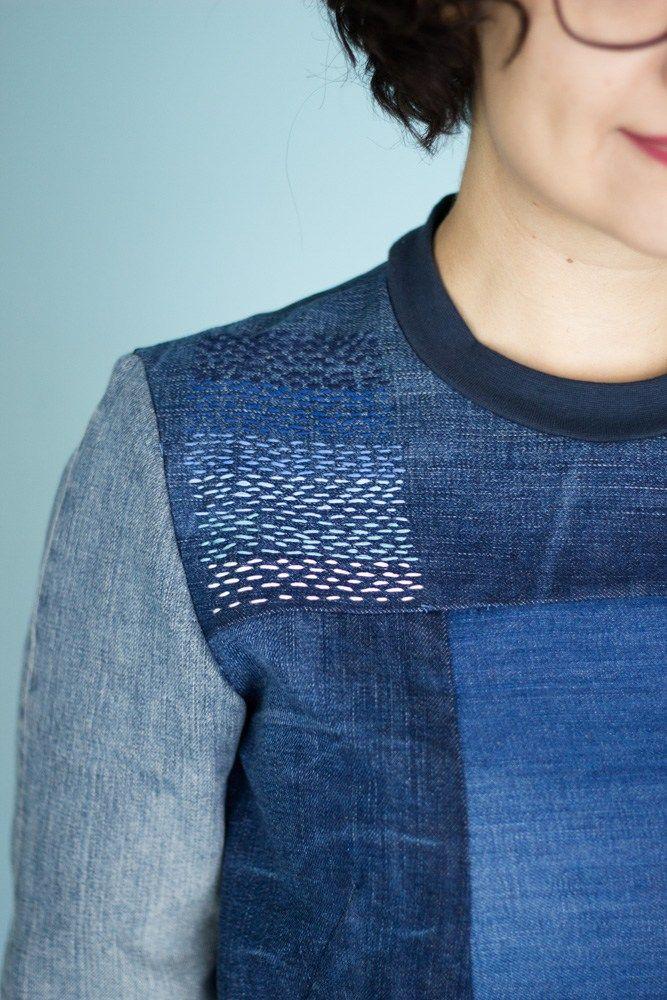 Refashion: Sweatshirt aus alten Jeanshosen mit Shashiko Details - Tweed & Greet                                                                                                                                                                                 Mehr