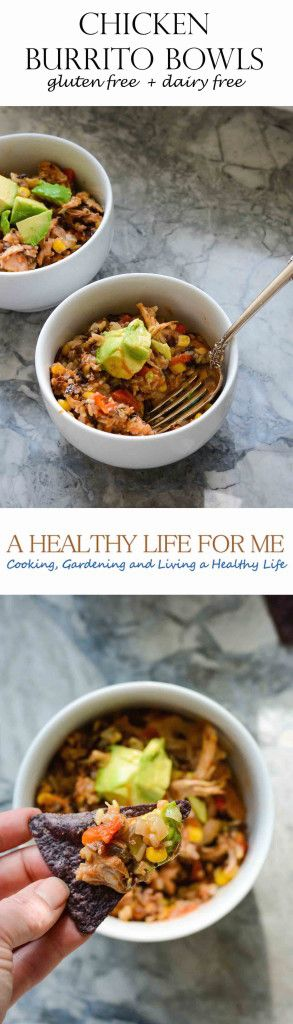 Chicken Burrito Bowls a one pot dinner recipe loaded with spice and flavor to please the whole family.  Plus this recipe gluten free and dairy free - A Healthy Life For Me