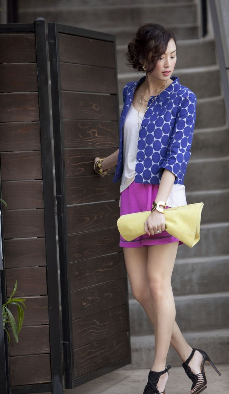 perfect!  love the colors, shapes, silk shorts, gorgeous hair - love.