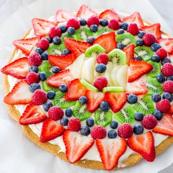Fruit Pizza with Cream Cheese Frosting @FoodBlogs