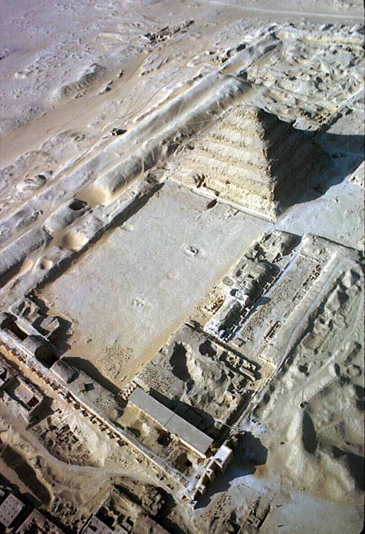 Aerial view of the Step Pyramid inside the complex of Djoser, Ṣaqqārah, Egypt