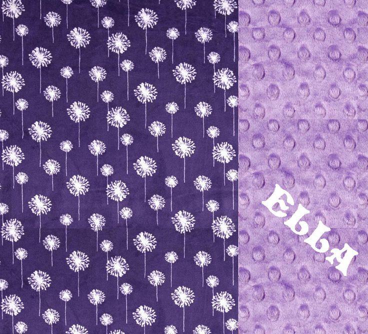 Purple Flower Minky Blanket Lilac Dandelion Flower Personalized Minky Blanket // Minky Baby Blanket // Nursery Decor //Name Baby Blanket by Sewingdreamsnotions on Etsy