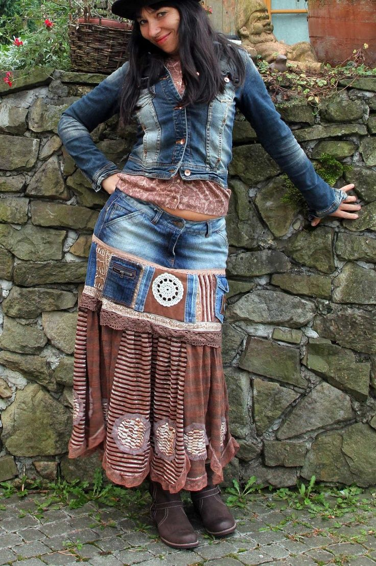 Boho jeans patchwork skirt.