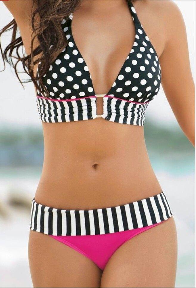 Pink and white polka dot bikini