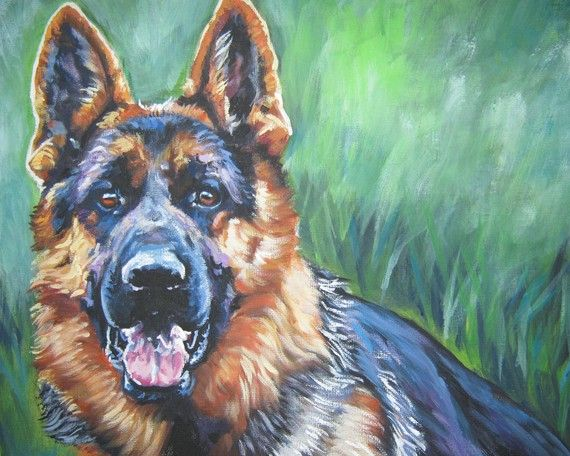 German Shepherd art print CANVAS print painting by TheDogLover, $19.99