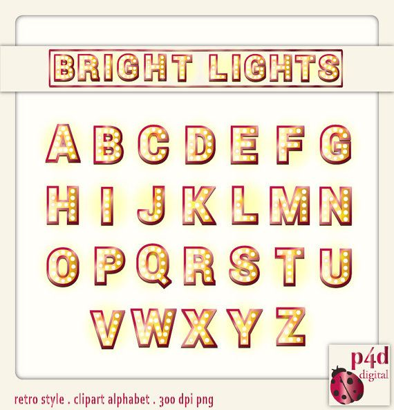 Retro Style Letters  Bright Lights  Digital by paper4download