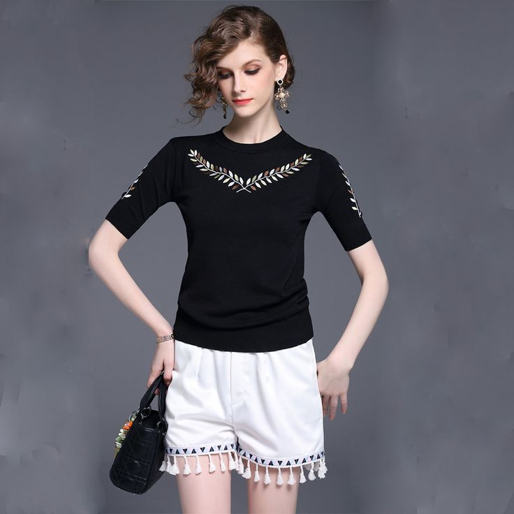 Women Black Knit Top White Shorts Clothing Europe Fashion Quality Embroidered Short-Sleeved Sweater Shorts Hot Pants Outfit SML -*- AliExpress Affiliate's buyable pin. Details on product can be viewed on www.aliexpress.com by clicking the image