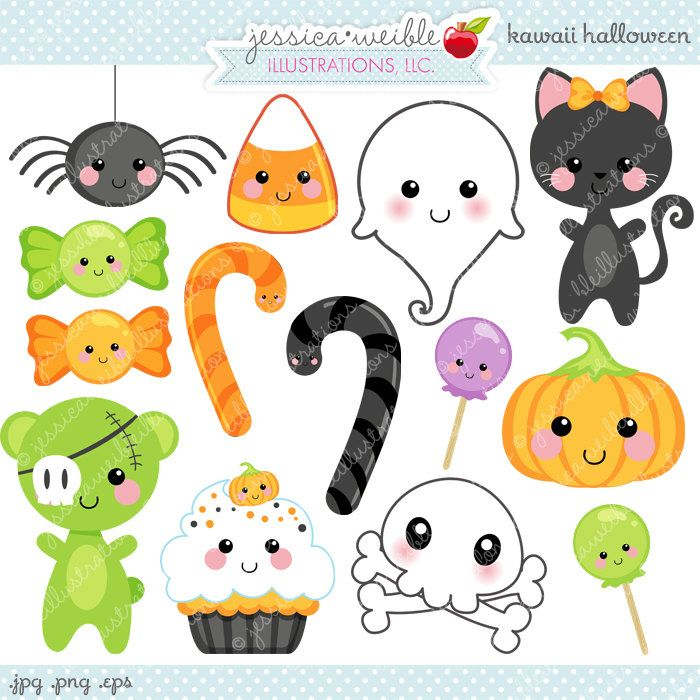 Kawaii Halloween Cute Digital Clipart - Commercial Use OK - Halloween Graphics Digital Art Kawaii Clipart Halloween Clipart (5.00 USD) by JWIllustrations