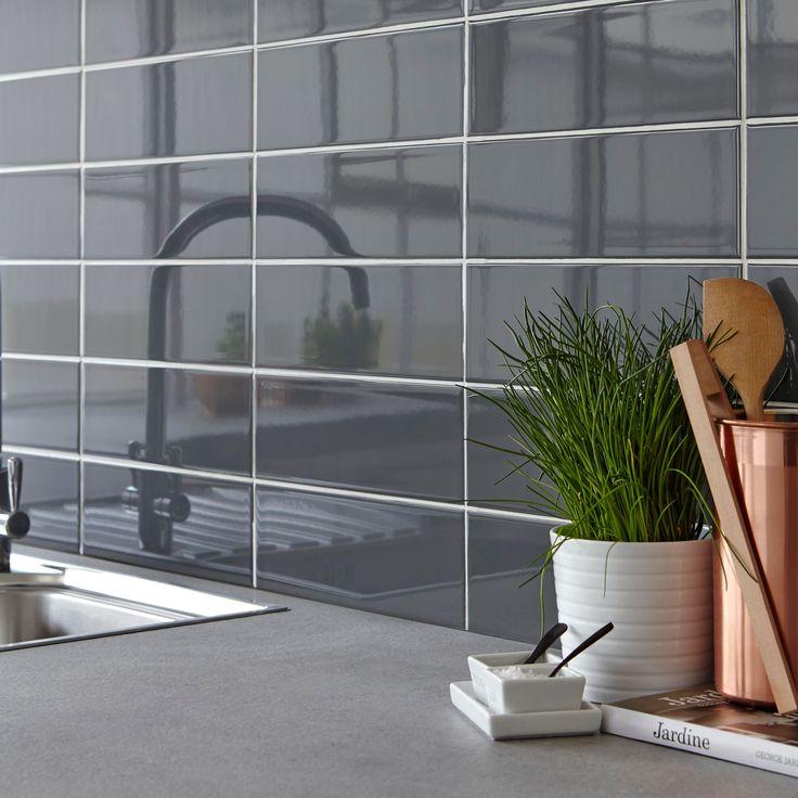 wellington grey ceramic wall tile pack of 33 l300mm w - Tijdelijke Backsplash