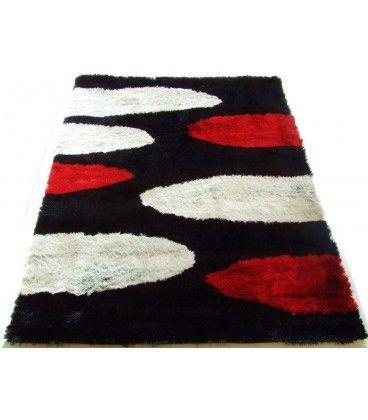 Luxusní kusový koberec viskóza 3D černý