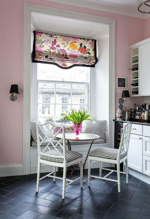 Gorgeous pink and black contemporary eat in kitchen features white bamboo  dining chairs topped with. 17 Best ideas about Black Slate Floor on Pinterest   Slate