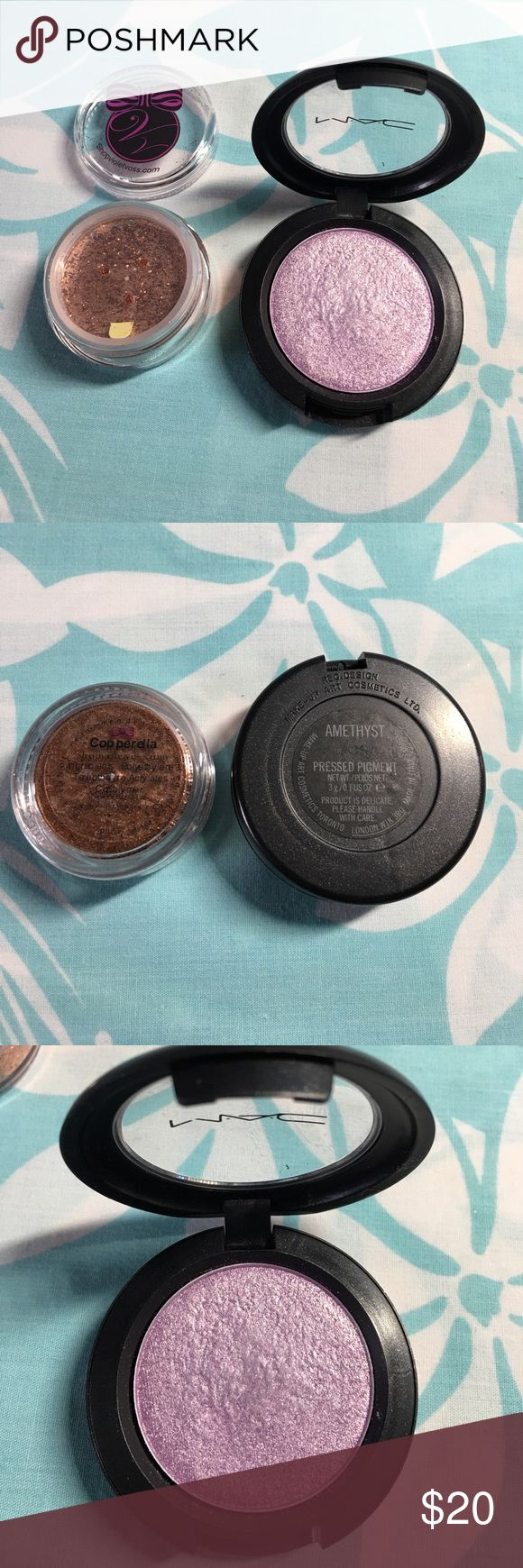 Shop Violet Voss COPPERELLA glitter & MAC AMETHYST Shop Violet Voss COPPERELLA glitter & MAC AMETHYST. Price is for both. Used MAC shadow a few times. Lots of product left. No boxes. MAC Cosmetics Makeup Eyeshadow