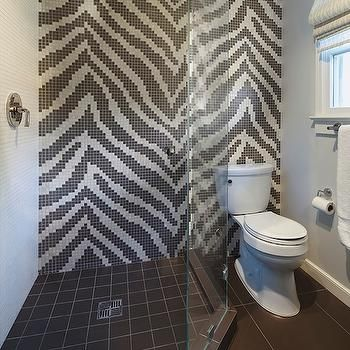 Zebra Tiles Contemporary Bathroom Artistic Designs For Living Mosaic Shower Accent Wall