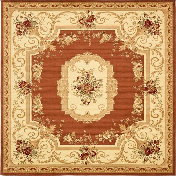 10 Foot Square Rug Part - 26: Traditional Versailles Brick Red 10 Ft. X 10 Ft. Square Rug