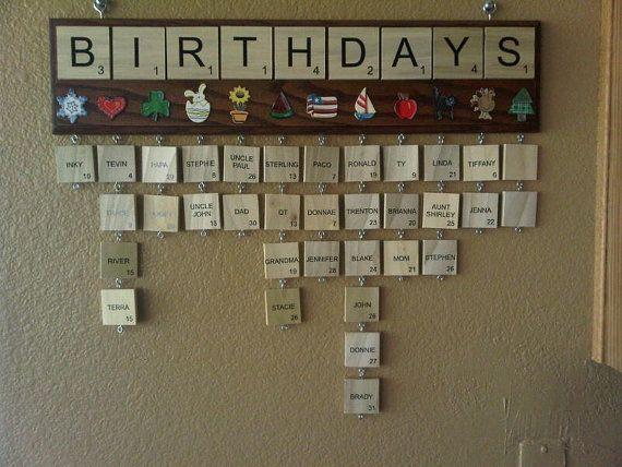 Calendrier d'anniversaire Scrabble par serschy sur Etsy