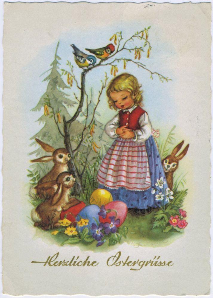 Künstler-AK Ostern / Mädchen mit Osterhasen und Riesen-Ostereiern, 1962