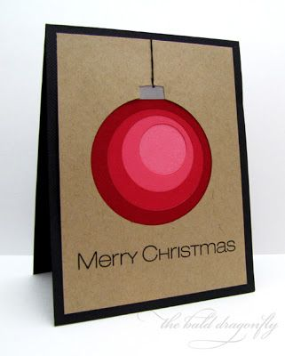 handmade Christmas card ... mod graphic design ... love the negative die cut circle filled with smaller and smaller circles getting lighter red each one ... kraft on black ... great ornament but could also be other things ...