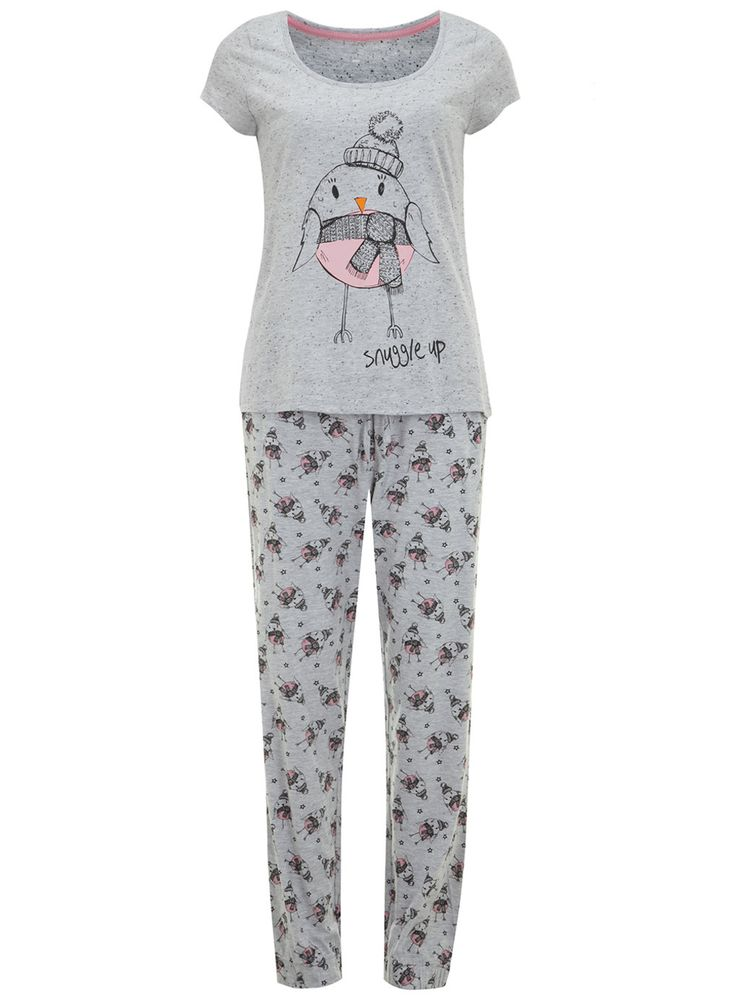 Grey Robin Pyjamas - Nightwear - Clothing - Dorothy Perkins