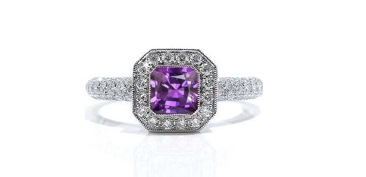 purple diamond antique engagement rings