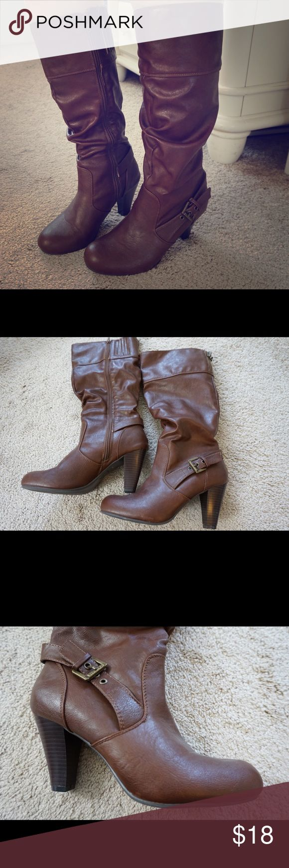 G by Guess Brown Heeled Boots Brown boots with zippers on the inside of the leg and buckle on the outside. They hit a few inches below the knee. I've worn these 1 time, so they are in brand new condition. G by Guess Shoes Heeled Boots