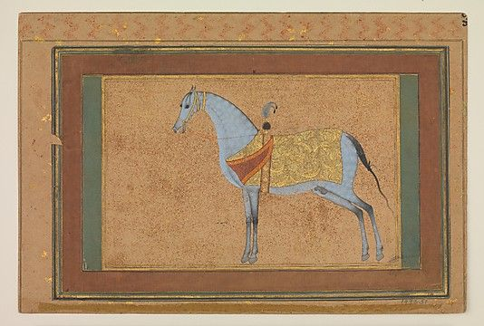 Painting by Habiballah of Sava (active ca. 1590–1610). A Stallion, The Metropolitan Museum of Art, New York. Purchase, Louis E. and Theresa S. Seley Purchase Fund for Islamic Art, The Edward Joseph Gallagher III Memorial Collection, Edward J. Gallagher Jr. Bequest, and Richard S. Perkins and Margaret Mushekian Gifts, 1992 (1992.51) #horses