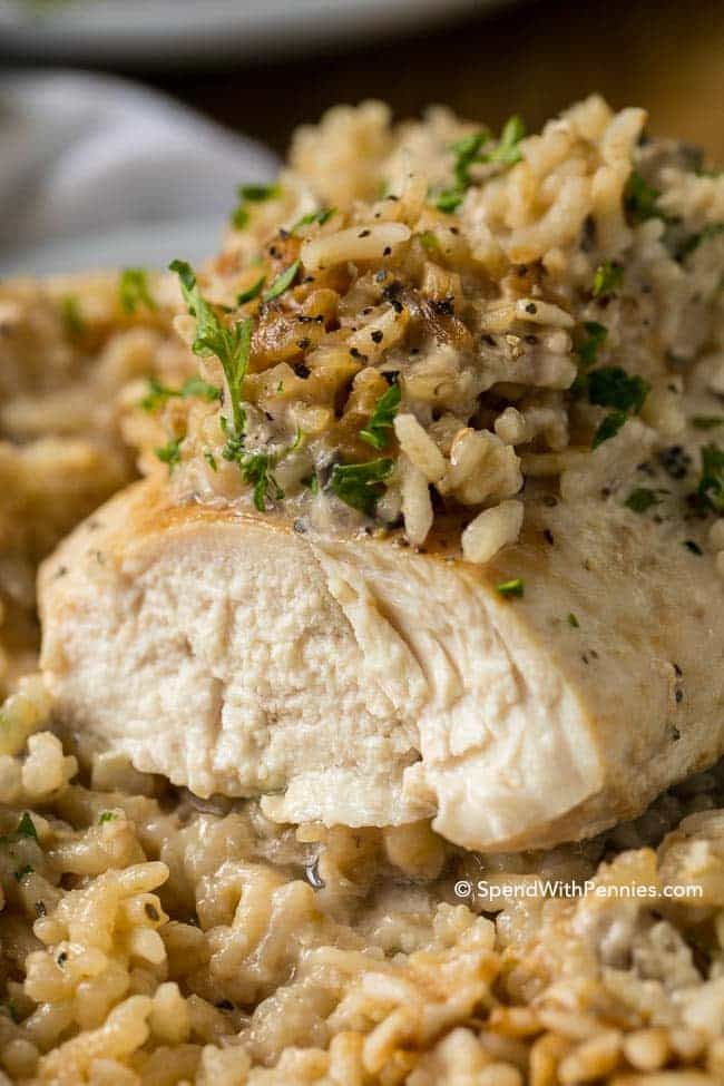 This quick and easy Chicken Rice Casserole is a family favorite dinner that comes together in under 5 minutes of prep time. Made with only 4 ingredients, this meal packs a lot of flavor in a filling one dish dinner that everyone will love!