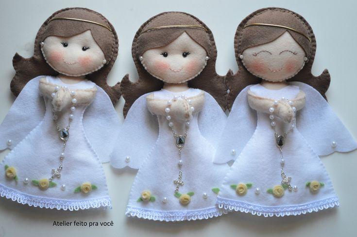 Anjinhas em feltro! Ótima opção para decoração ou lembrancinhas de batizado, Eucaristia, entre outros. <br>Valor unitário.