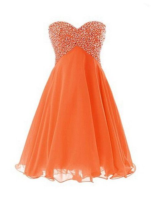 Homecoming Dress, Orange Simple Modern A-line Homecoming Dress,