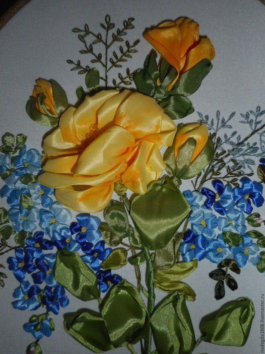 Картины цветов ручной работы. Ярмарка Мастеров - ручная работа. Купить Вышивка лентами Роза и незабудки. Handmade. Комбинированный, картина