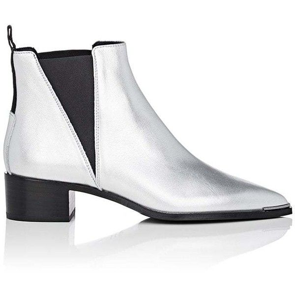 Acne Studios Women's Jensen Metallic Leather Chelsea Boots ($540) ❤ liked on Polyvore featuring shoes, boots, ankle booties, ankle boots, silver, pointed toe ankle boots, pointed toe booties, pointy toe booties, leather bootie and leather booties