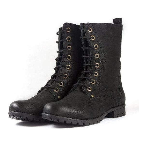 Women's Black Nubuck Leather Combat Boots ($93) ❤ liked on Polyvore featuring shoes, boots, black, zipper boots, lace up boots, metallic combat boots, black boots and army boots