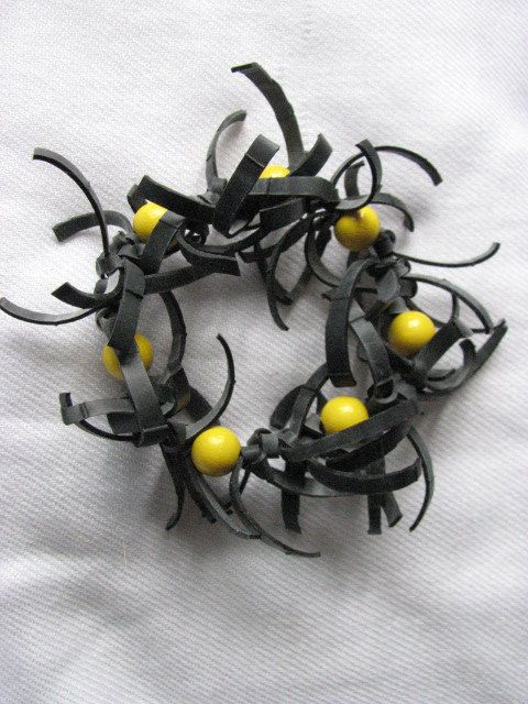 Bicycle inner tube bracelet yellow by KatKeRosCorner